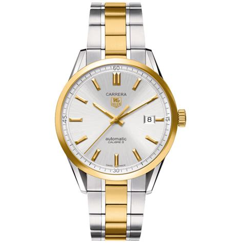 tag heuer silver 18kt yellow gold and