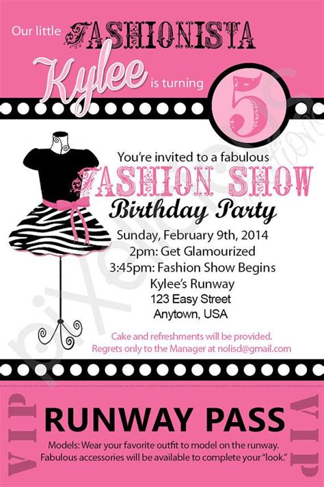fashion show invitation card templates fashion show custom printable birthday invitation