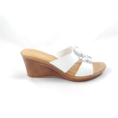 mule sandals for lotus cassel white wedge mule sandal with leather flowers