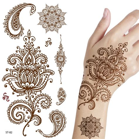 henna temporary tattoo amazon adecco llc 6 sheets flower temporary henna