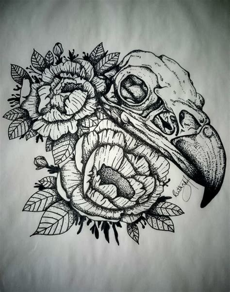 girly bird tattoo designs peonies and hawk skull design dotwork and blackwork find