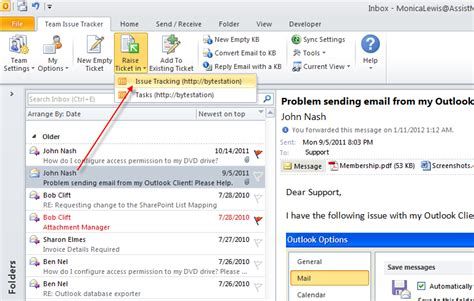 office implement issue tracking with outlook exchange