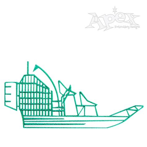 airboat blueprints airboat embroidery design
