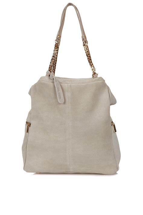 Topshops Cotton Checked Holdall by Topshop Large Box Chain Day Bag In Gray Grey Lyst