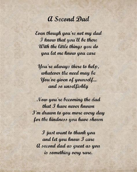 Items similar to A Second Dad Love Poem for Stepdad 8 X 10