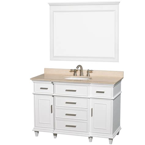 ackley 48 quot inch white finish single sink bathroom vanity
