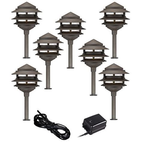Pagoda 9 Piece Complete Outdoor Led Landscape Lighting Set Landscape Lighting Sets