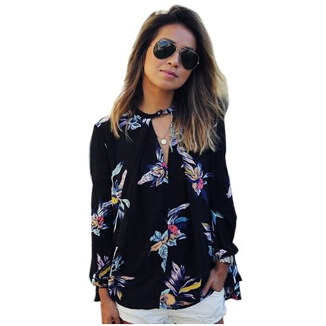 Now Printed Twistcone Top 2016 autumn chiffon sleeve floral print casual club shirt blouse top