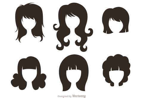 girl hairstyles vector black silhouette woman with hairstyles vectors download