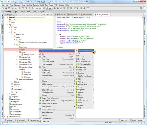 android studio layout resource file android tutorial neues android studio projekt erstellen