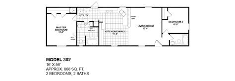 2 bedroom 2 bath single wide mobile home floor plans model 302 14x56 2bedroom 2bath oak creek mobile home