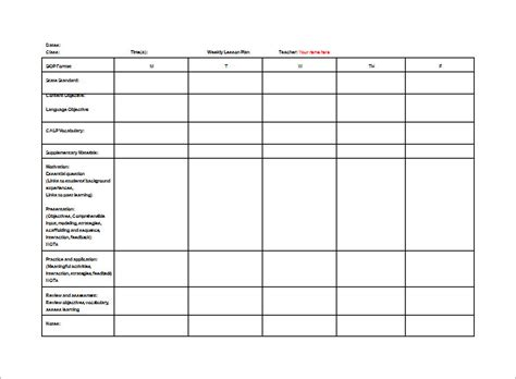 weekly lesson plan templates for teachers lesson plan template 9 free sle exle