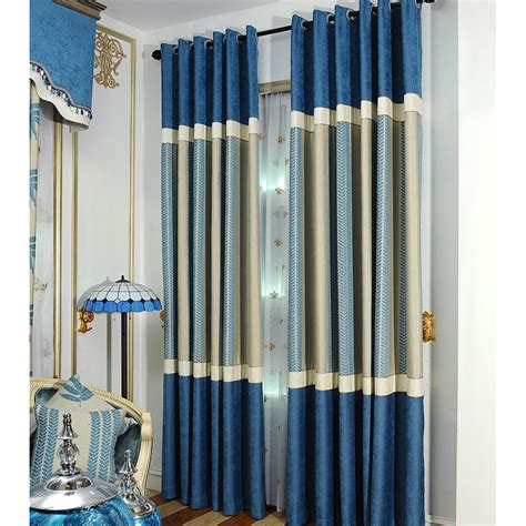 striped thermal curtains blue striped jacquard chenille thermal modern curtain for