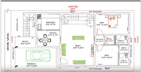 House Layout Design by 30 Feet By 60 Single Floor Modern Home Plan According To