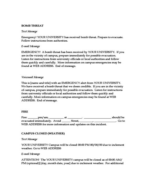 emergency message templates free download