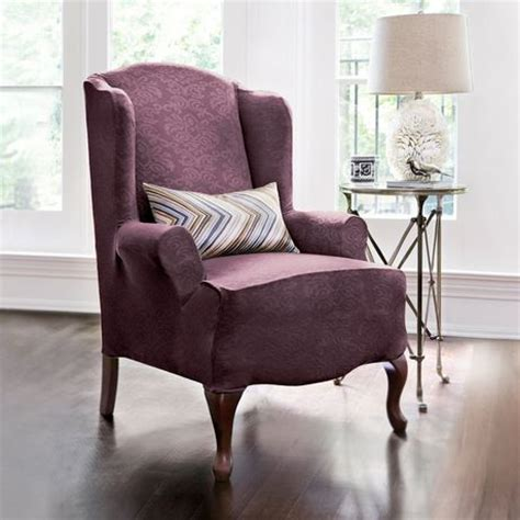 purple slipcover surefit damask stretch wing chair slipcover walmart ca