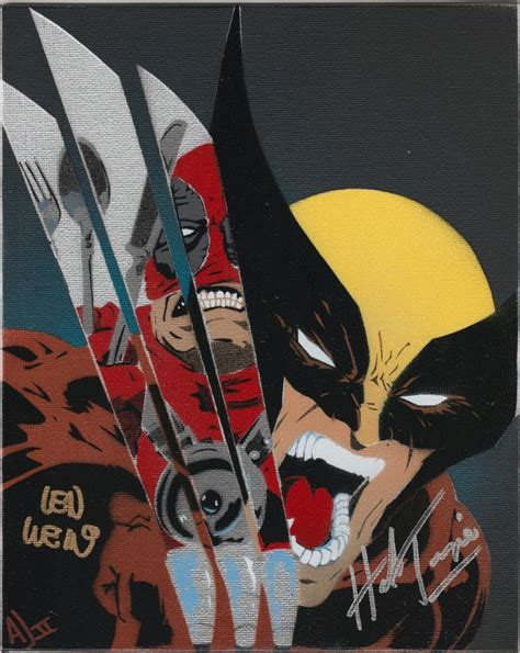 marvel len marvel wolverine vs deadpool original painting signed by