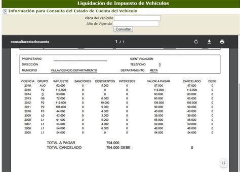 liquidacion de impuesto gobernacion del meta instrucciones para liquidar el impuestos vehicular en el