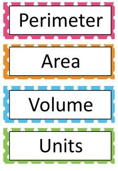 printable area word free perimeter area volume word wall 20 words by