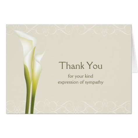 Thank You Notes For Sympathy Cards And Gifts - calla lily sympathy thank you cards zazzle com