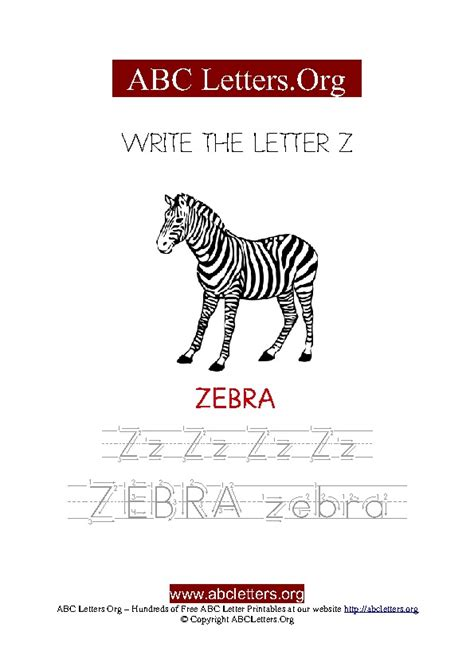 4 Letter Words Zebra zebra letter z picture writing worksheet abc letters org