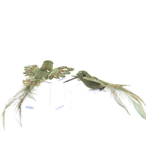 green burlap and feather artificial hummingbirds birds