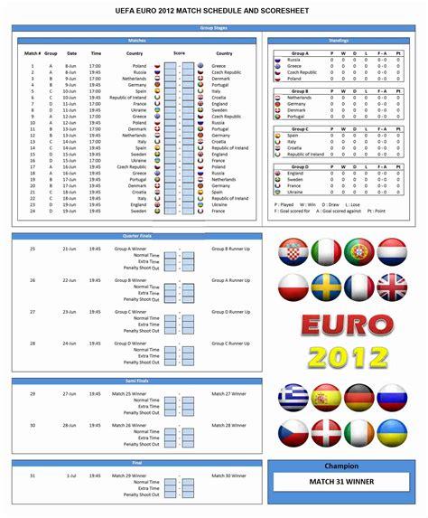 euro  schedule template