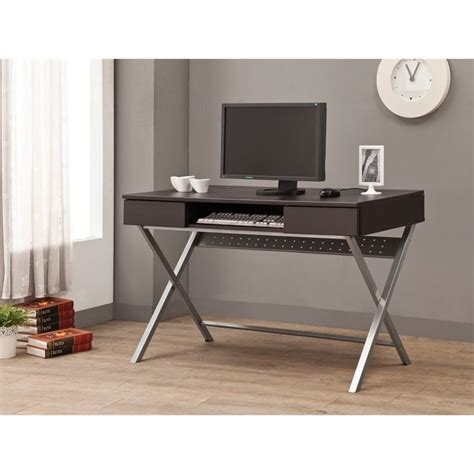 desk l with outlet coaster desk with built in outlet in cappuccino 800117