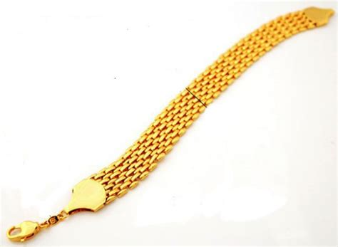 18k Real Gold Plated Stylish Chunky Bracelet for men with 18KGP stamp, price, review and buy in