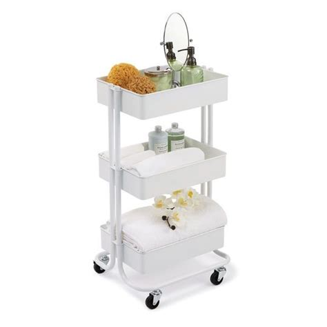 recollections bathrooms white lexington 3 tier rolling cart by recollections