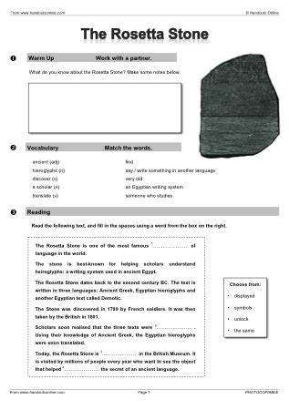 rosetta stone quiz answers efl esl reading worksheets and activities from handouts online