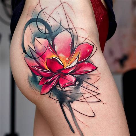watercolor tattoo lotus watercolor abstract lotus flower tattooviral