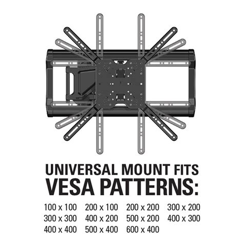 wall mount pattern sanus full motion tv wall mount for 37 quot to 80 quot tvs