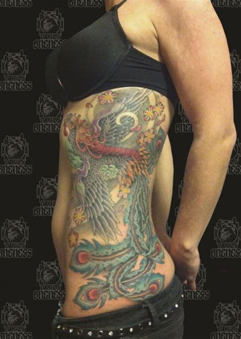 japanese tattoo ribs japanese colour peacock rib tattoo by darko groenhagen