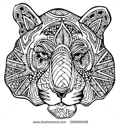 tiger mandala coloring pages zentangle tiger vector illustration stock vector