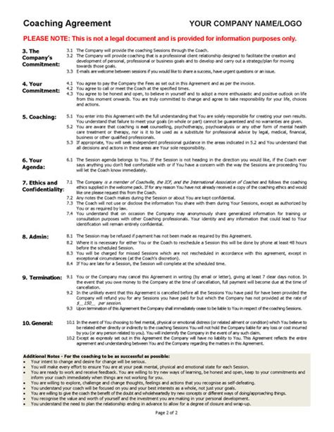 coaching agreement contract template sle coaching