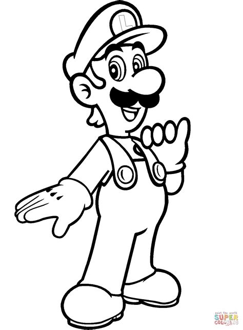 mario coloring luigi from mario bros coloring page free printable