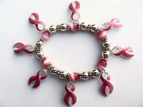 breast cancer large pink ribbon charm inspirational