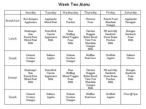pin cacfp weekly menu planning doc on pinterest
