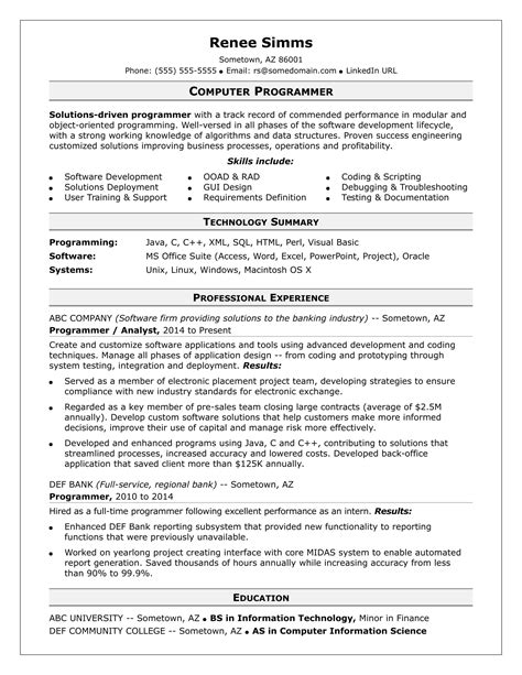 Programmer Resume by Computer Programming Resume Resume Ideas
