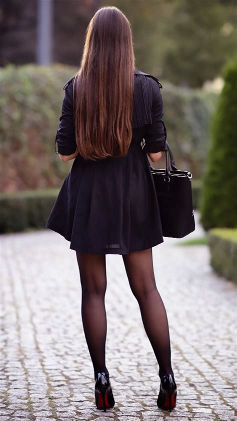 black trench coat a top with golf pencil skirt and