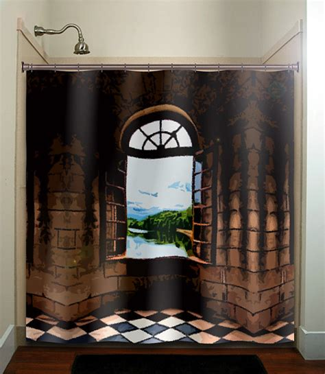 castle shower curtain castle window shower curtain bathroom decor fabric kids bath