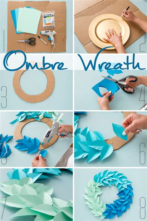 Things To Make With Paper And Glue - diy ombre wreath use colorful cardstock paper cardboard