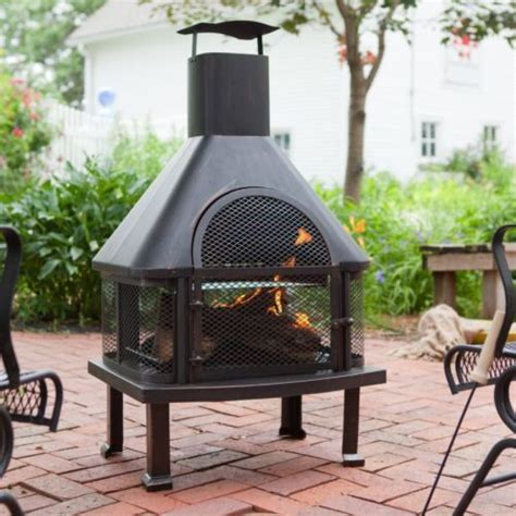 large steel outdoor chiminea smokestack fireplace - Large Chiminea Outdoor Fireplace