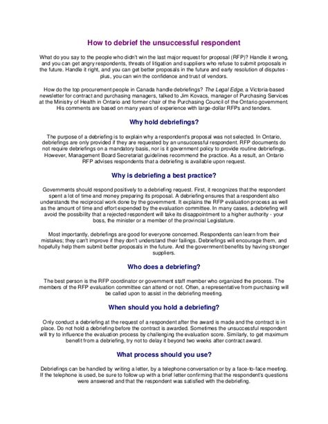 Debriefs Government Point Of View Federal Government Rfp Template