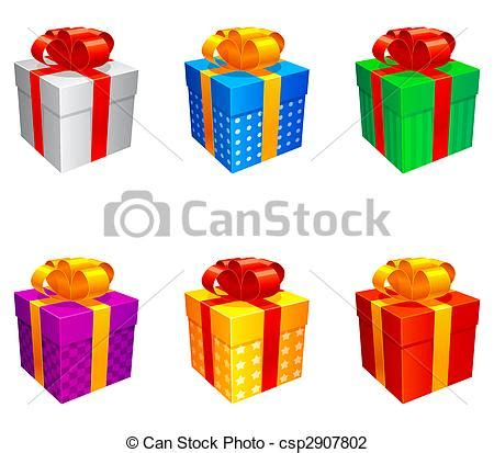 Love Decorations For The Home by Vector Illustration Of Gift Boxes Set Of 6 Colored Gift Boxes Isolated On White