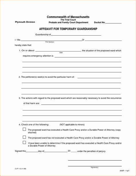 Elegant Free Printable Child Guardianship Forms Downloadtarget Temporary Guardianship Agreement Template