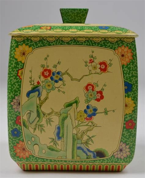 vintage retro flower pattern canister metal tin white vintage oriental green tea canister the metal box