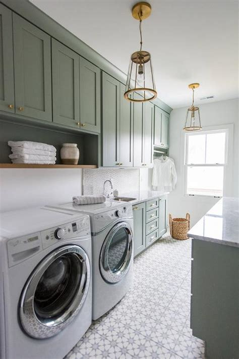 Gray Green Laundry Room Cabinets with Glass and Brass