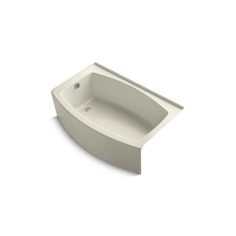 kohler expanse bathtub shop kohler expanse 60 in almond acrylic alcove bathtub with left hand drain at lowes com